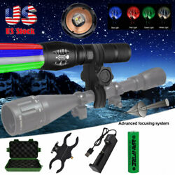 Tactical Flashlight Rechargeable Red Green Blue White Light Waterproof Zoomable $24.69