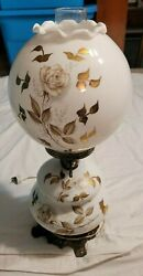 LARGE VINTAGE HURRICANE GLASS LAMP WHITE GOLD INLAY FLORAL PATTERN BRASS FEET $33.99