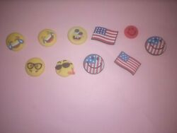 Shoe Charms Lot of 10 emoji faces and flags Variety for Crocs $7.99