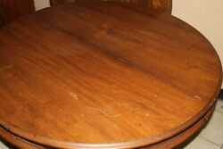 ROUND ANTIQUE WALNUT VICTORIAN TABLE WITH SIX LEAVES AND VERY NICE BASE $875.00