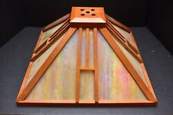 Vintage Arts amp; Crafts Mission Wood amp; Slag Glass Table Lamp shade only Iridescent $199.95