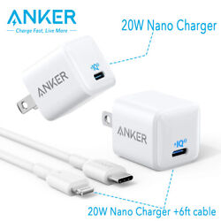 Anker Nano Charger 20W Fast Charger 6ft Cable USB C Power Adapter for iPhone 12 $29.99