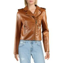 Boundless North Womens Brown Faux Leather Motorcycle Jacket Coat M BHFO 4946 $10.99