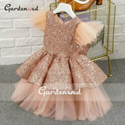 Kids Party Dress Glitter Sequin Celebrity Dresses Tulle Layer Flower Girls Dress