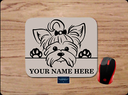 YORKIE YORKSHIRE TERRIER DOG PERSONALIZED NAME CUSTOM PC MOUSE PAD DESK MAT GIFT $11.95