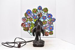 Leaded Glass Tiffany Style Peacock Table Lamp Stained Art deco nouveau Design $154.60