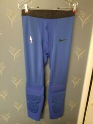 Nike NBA Pro 3 4 Compression Pants Blue Issued Mens AT9764 010 New Large L $49.97