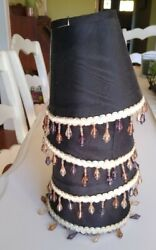 Set 4 Chandelier Mini Lamp Shades Silk BLACK GOLD beaded Clip On Bell 4 1 2quot; $18.00