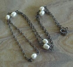 Etsy Artisan Sterling Silver Wire Wrapped Pearl Station Chain Necklace 20 1 2quot; $19.95