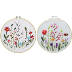 Embroidery DIY Kit Flower Pattern Cross Stitch Needlework With Hoop For Beginner $8.29