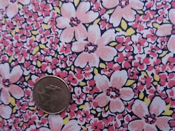 100% Cotton Fabric Shades of Pink Flowers With Splashes of Yellow By the Yard $4.00