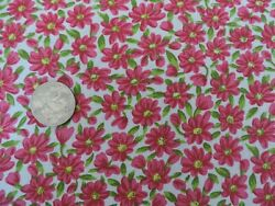 100% Cotton Fabric Shades of Fuchsia Flowers On White By the Yard $4.00