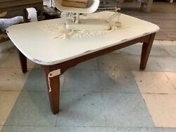 Vintage Coffee Table Painted White Top Wood Legs Light Distressing Farm House $250.00