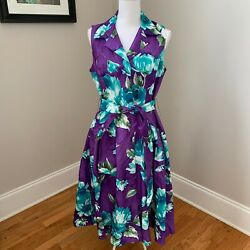 Coldwater Creek NWT Purple floral sleeveless tie waist fancy party dress size 12 $39.99
