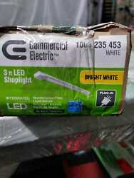 Commercial Electric 3 ft. 1 Light 30 Watt Eq. White Utility LED Shop Light