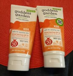 2 Tubes Goddess Garden Mineral Kids Sunscreen Reef Safe Sensitive Skin Safe 6oz $10.00