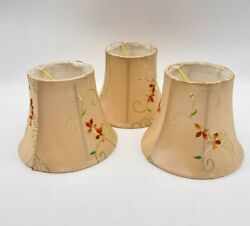 3 LAMP SHADES CANDLE CHANDELIER CREAM FLORAL 4quot;H TOP 3quot;W BOTTOM 5quot;W BULB MOUNT $16.40