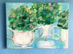 original acrylic painting floral still life boxwoods green topiary art canvas $192.00