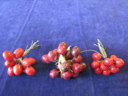 Vintage Millinery Flower Fruit Collection Red Shades Cherry 3 4 1quot; German H3643 $12.99