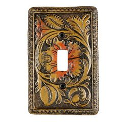 Urbalabs Western Antique Floral Carved Decorative Light Switch Outlet Wall Plate
