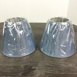 Blue Patterned Print Small Lamp Shades Set Of 2 New $23.95
