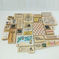 LOT 33 MISC. Rubber stamps variety holiday WOOD RUBBER STAMPS easter birthday $47.40
