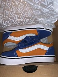 Vans Off The Wall Baby Blue Gold Old Skool Suede Round Toe Casual Shoes Size 8.5 $17.49