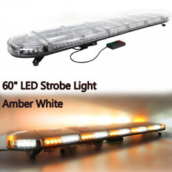 Amber White 60quot; LED Emergency Beacon Strobe Light Bar Warning Tow Roof Top Truck $244.99
