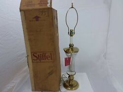 Stiffel Table Lamp Brass With Crystal Center 34quot; Tall Style 7751 Vintage $180.00