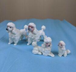 Vintage Miniature Poodle Figurine Lot of 4 Collectable Dogs $9.99
