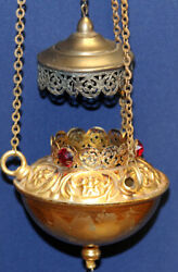 Vintage Lamp for IconLampada Orthodox Brass With 3 Red Stones $49.00