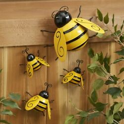 Decorative Metal Bumble Bee Garden Accents Lawn Ornaments Set of 4 $13.79