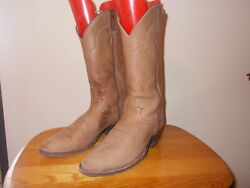 Men#x27;s JUSTIN #1325 Soft Tan Leather Western Cowboy Boots Size 9D Made in USA $40.00