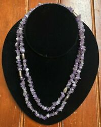 Vintage Sterling Silver amp; Polished Amethyst Stone Necklace 19.5quot; $19.99