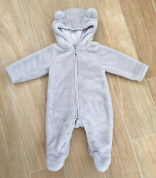The Little White Company Grey Super Soft Furry Bear ear Pramsuit 3 6 Months GBP 7.00