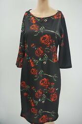 ECI New York Black Lg Red Floral Multicolor 3 4 Sleeve Midi Dress Size Summer 10 $24.99