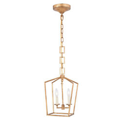 GOLDEN IRON PENDANT DINING ROOM KITCHEN COUNTRY COTTAGE CHANDELIER 2 LIGHT 15.5quot; $291.60