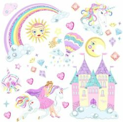 Large 12x35 in Unicorn Wall Stickers Home Decal Decor Kids Girls Bedroom Nursery $13.99