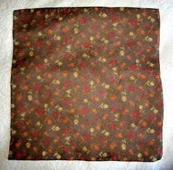 SMALL SQUARE SEMI SHEER BROWN FLORAL SCARF $4.50