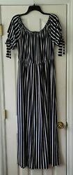 Vibe Sportswear maxi dress plus sz 2X navy blue white stripe elastic waist $12.00