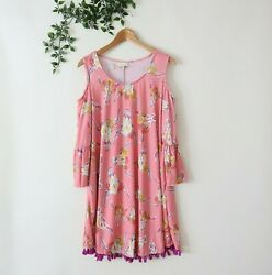 Simply Southern Women#x27;s 3 4 Bell Sleeve Cold Shoulder Floral Dress L Large Pink $10.99