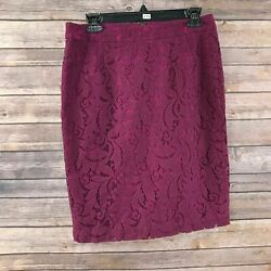 CAbi #922 Women#x27;s Frolic Berry Lace Pencil Skirt Size 6 $12.60