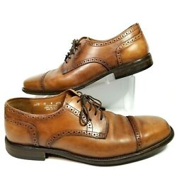 Bostonian Ricardo Mens 13 Dress Shoes Brown Leather Oxfords Cap Toe Italy 24016 $28.99