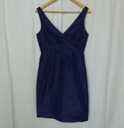 J Crew Women#x27;s Sara Dress 100% Silk Sleeveless V Neck Solid Blue Cocktail Size 8 $24.97