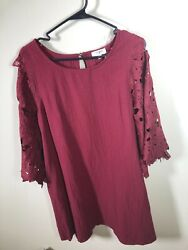 Umgee Women#x27;s 3 4 embroidered bell sleeve Maroon Floral Dress Medium $19.99