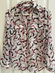 New Yorkamp;co Sheer Blouse SzXS Novelty High Heel Repeat Print Pockets Bold Color $12.99