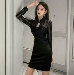 Women#x27;s Dress Elegant Black Dresses Lace Stitching Sexy Black Sheer Short Skirts