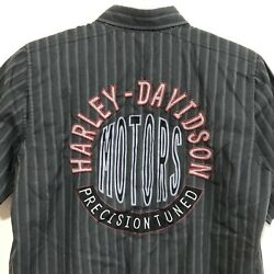 Harley Davidson Mens Small HD Performance Vented Button Shirt Embroidered Stripe $34.88