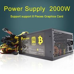 PC Power Supply 2000W ATX Gaming Mining Bitcoin 95 High Efficiency for 8GPU Max $189.99