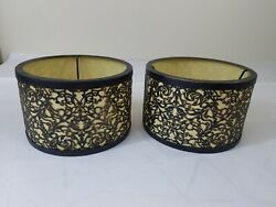 Pair set 2 slip UNO small Lamp Shades Metal distressed cut out black 6.5x4 $24.99